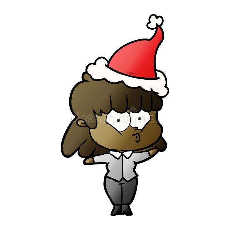 戴圣诞老人帽子的一个吹哨的女孩的梯度动画片 皇族释放例证