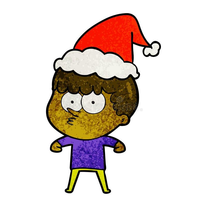 戴圣诞老人帽子的一个好奇男孩的织地不很细动画片 库存例证