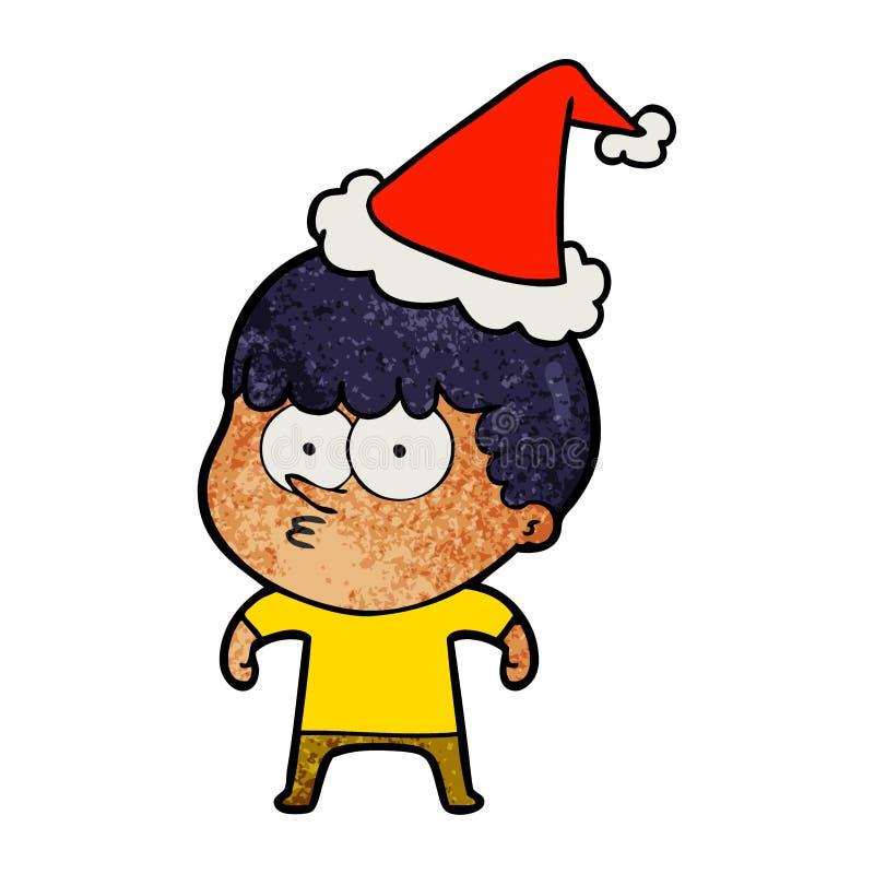 戴圣诞老人帽子的一个好奇男孩的织地不很细动画片 向量例证
