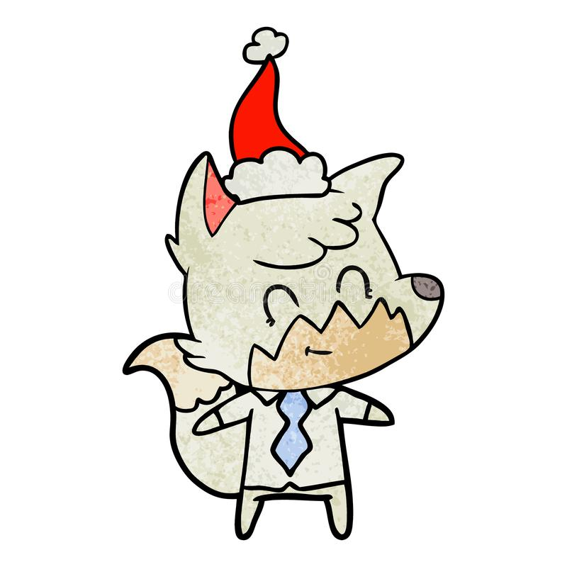 戴圣诞老人帽子的一只友好的狐狸的织地不很细动画片 向量例证
