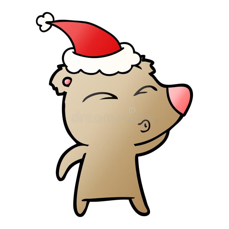 戴圣诞老人帽子的一头吹哨的熊的梯度动画片 库存例证