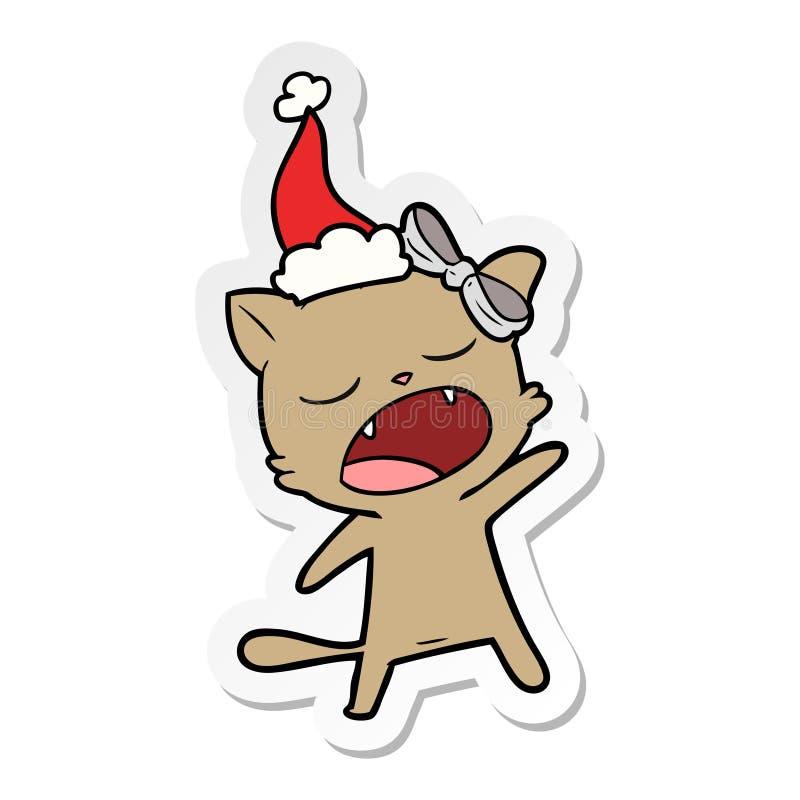 戴圣诞老人帽子的唱歌猫的贴纸动画片 向量例证