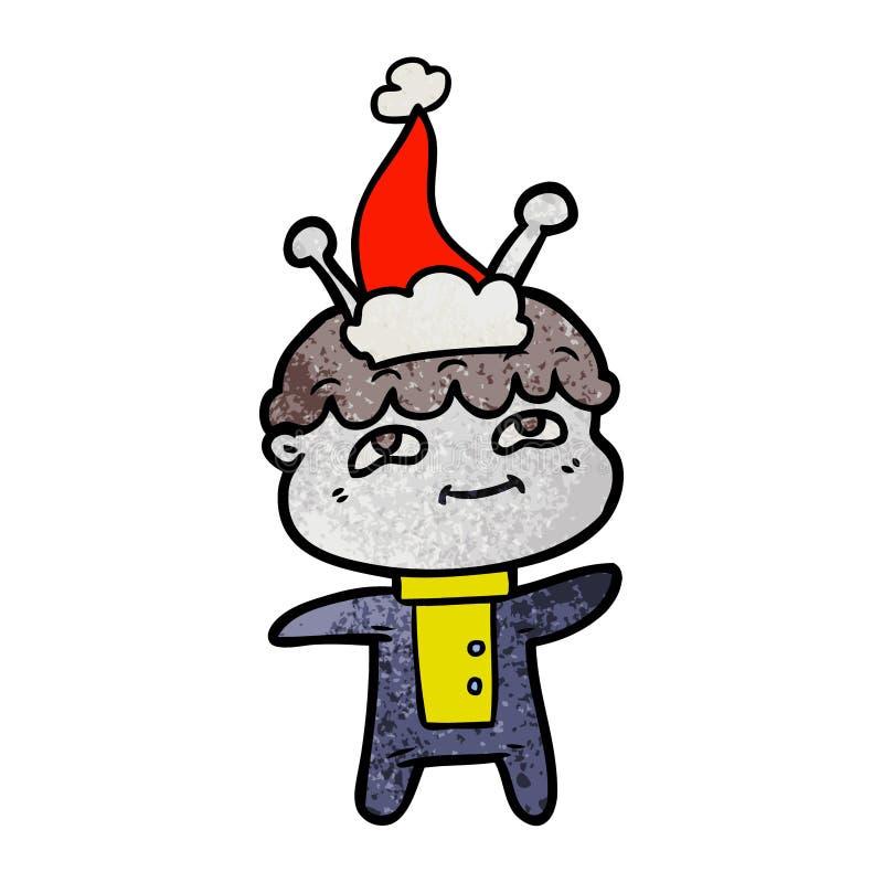 戴圣诞老人帽子的太空人的友好的织地不很细动画片 向量例证