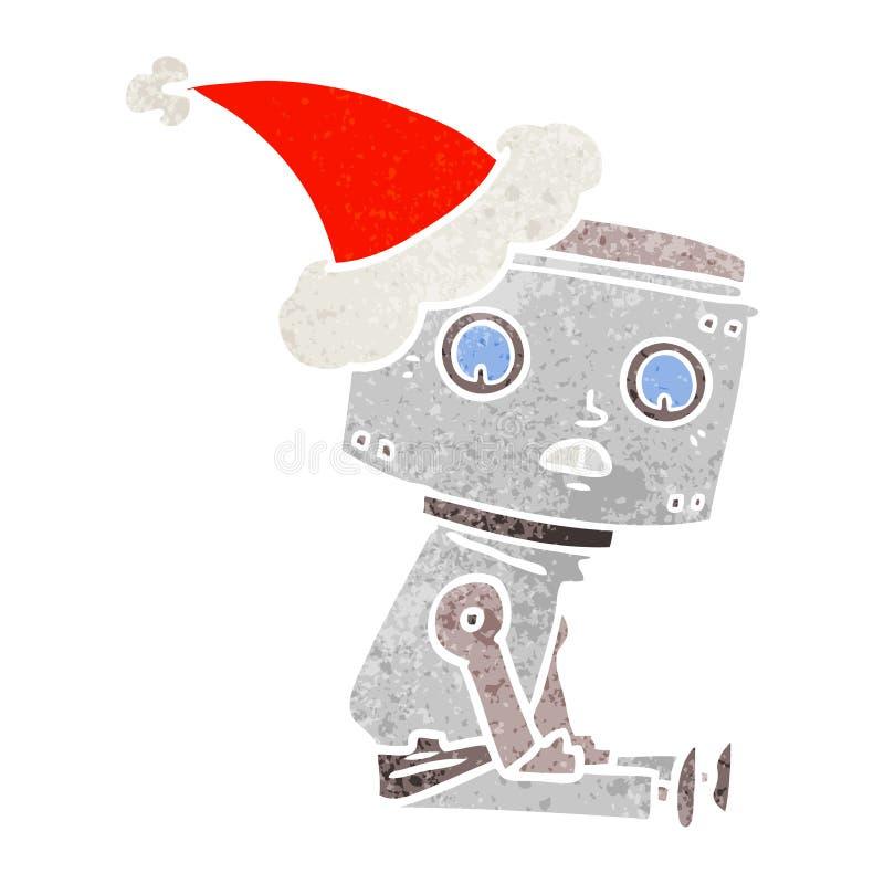 戴圣诞老人帽子的机器人的减速火箭的动画片 皇族释放例证