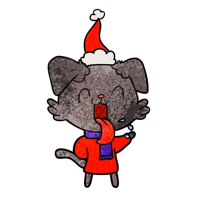 戴圣诞老人帽子的气喘狗的织地不很细动画片 皇族释放例证