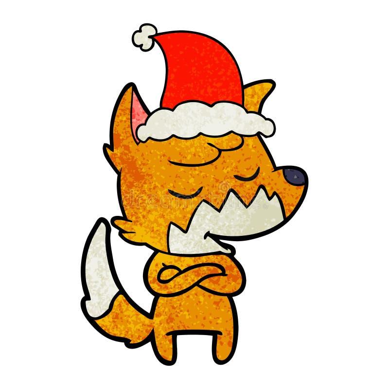 戴圣诞老人帽子的狐狸的友好的织地不很细动画片 向量例证