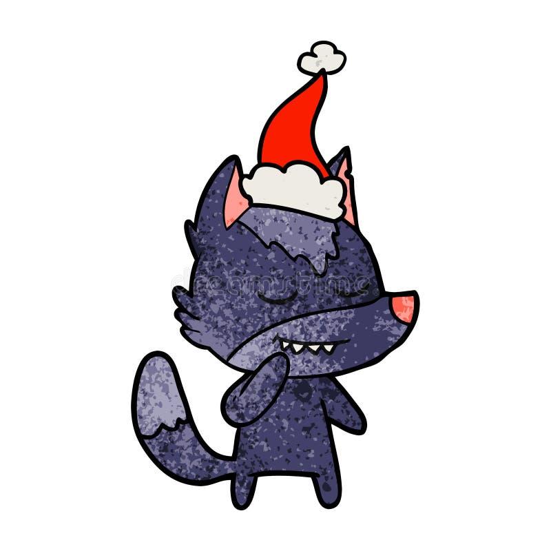 戴圣诞老人帽子的狼的友好的织地不很细动画片 向量例证
