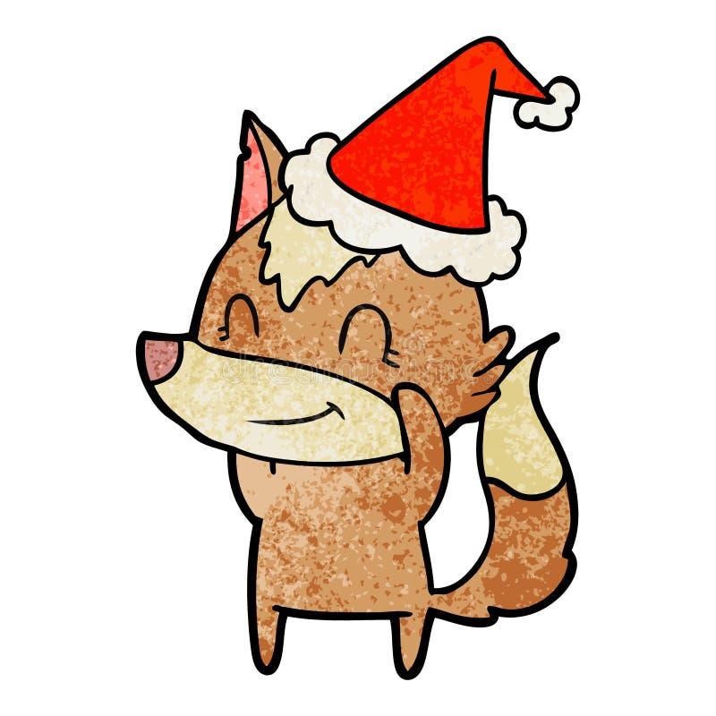 戴圣诞老人帽子的狼的友好的织地不很细动画片 皇族释放例证