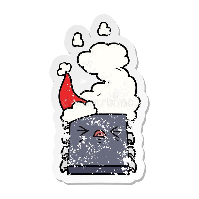 戴圣诞老人帽子的过度加热的计算机芯片的困厄的贴纸动画片 库存例证