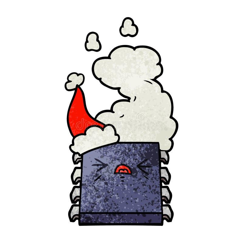 戴圣诞老人帽子的过度加热的计算机芯片的织地不很细动画片 皇族释放例证