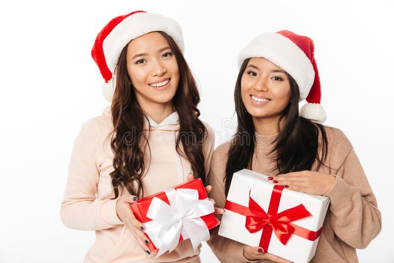 戴圣诞节圣诞老人帽子的亚裔逗人喜爱的夫人姐妹 免版税库存照片