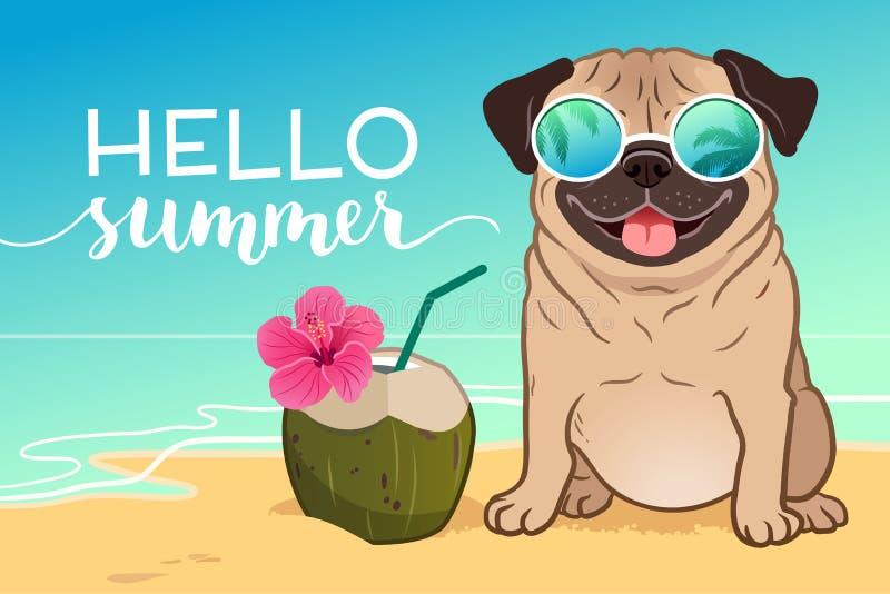 戴在一个沙滩,海洋的哈巴狗狗反射性太阳镜  向量例证