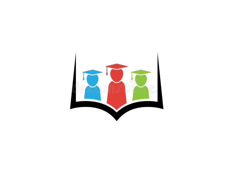 戴在一本书里面的孩子或学生毕业帽子商标设计的 皇族释放例证