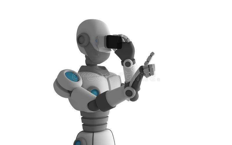 戴在白色背景的机器人虚拟现实眼镜 库存例证