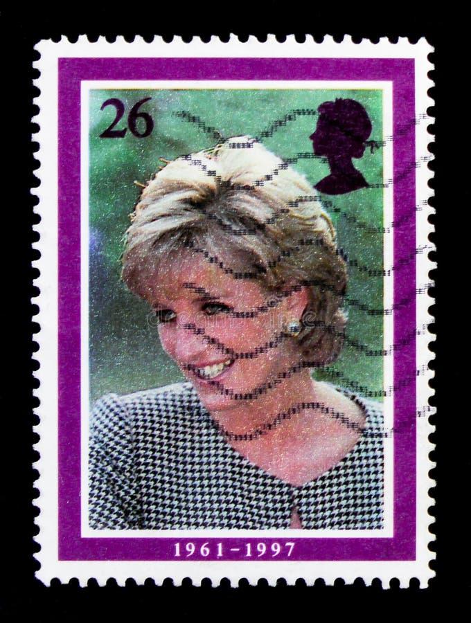 戴安娜公主画象参观的,向伯明翰,戴安娜10月1995年,威尔士王妃记念serie,大约1998年 免版税库存照片