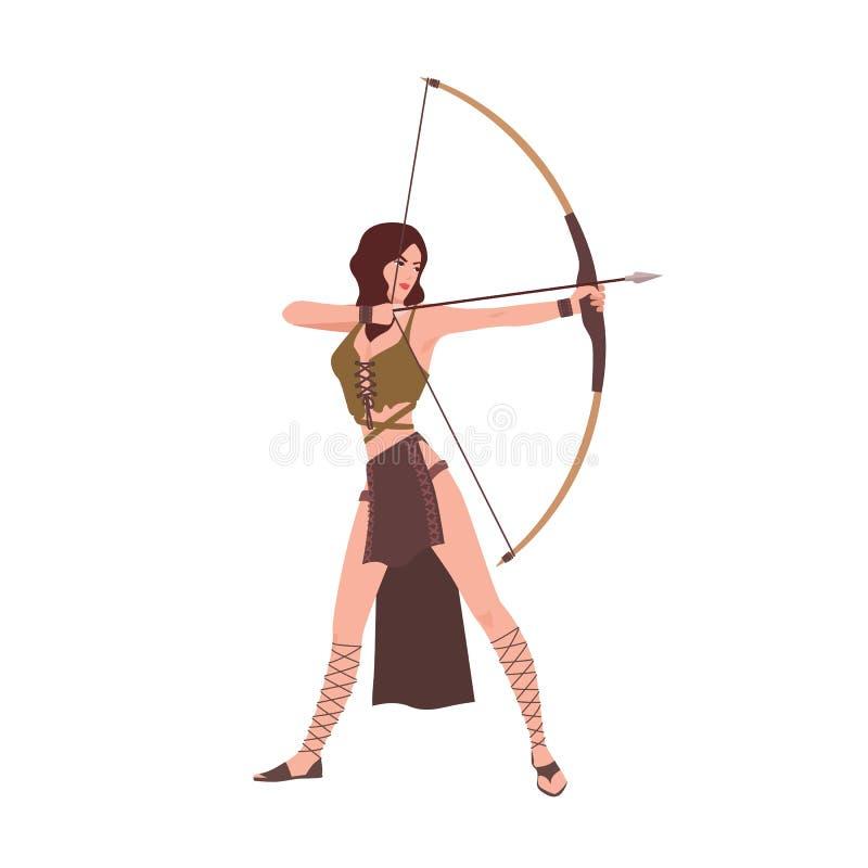 戴安娜或阿特米斯,在白色背景从罗马或希腊神话的隔绝的狩猎的女神 勇敢的美女 皇族释放例证