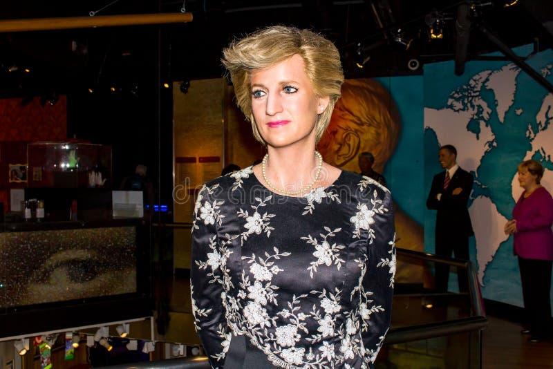 戴安娜,蜡雕象,索夫女士的阿姆斯特丹夫人 库存照片