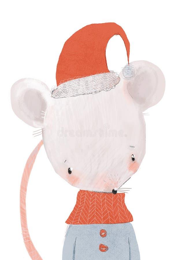 戴帽围巾的可爱小鼠画像 图库摄影