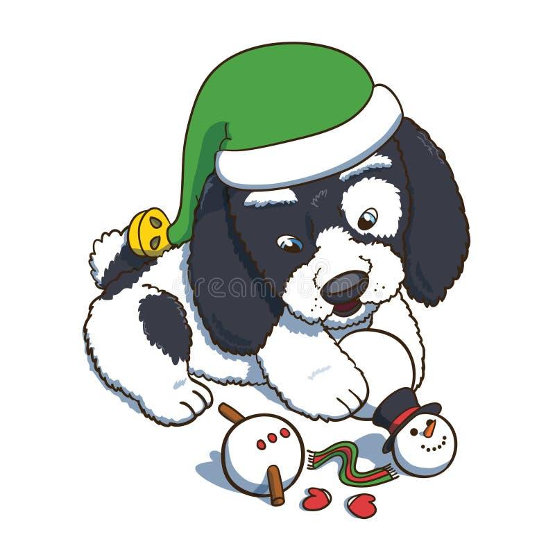 戴有雪人的小狗一个新年矮子帽子Plaing 向量例证