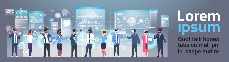 戴现代3d眼镜的小组买卖人使用未来派用户界面虚拟现实技术概念 向量例证