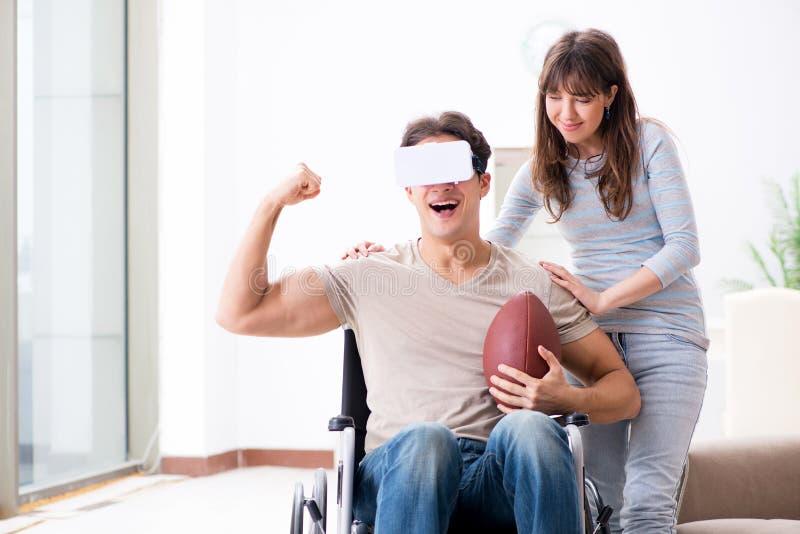 戴真正眼镜的残疾人 免版税库存照片