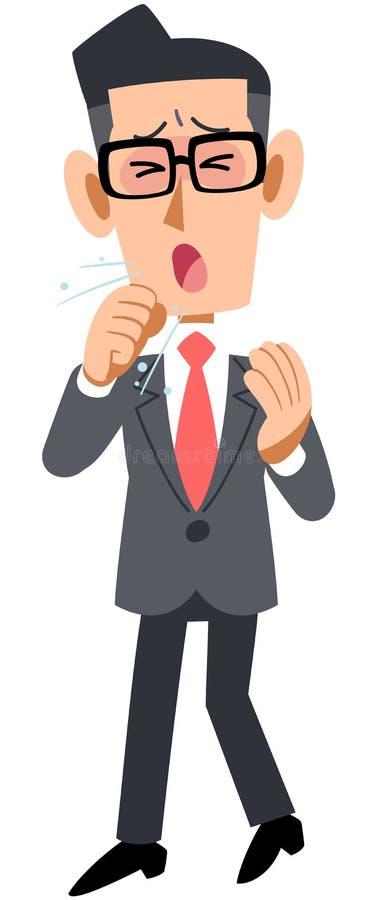 戴眼镜的商人有感冒和咳嗽 库存例证