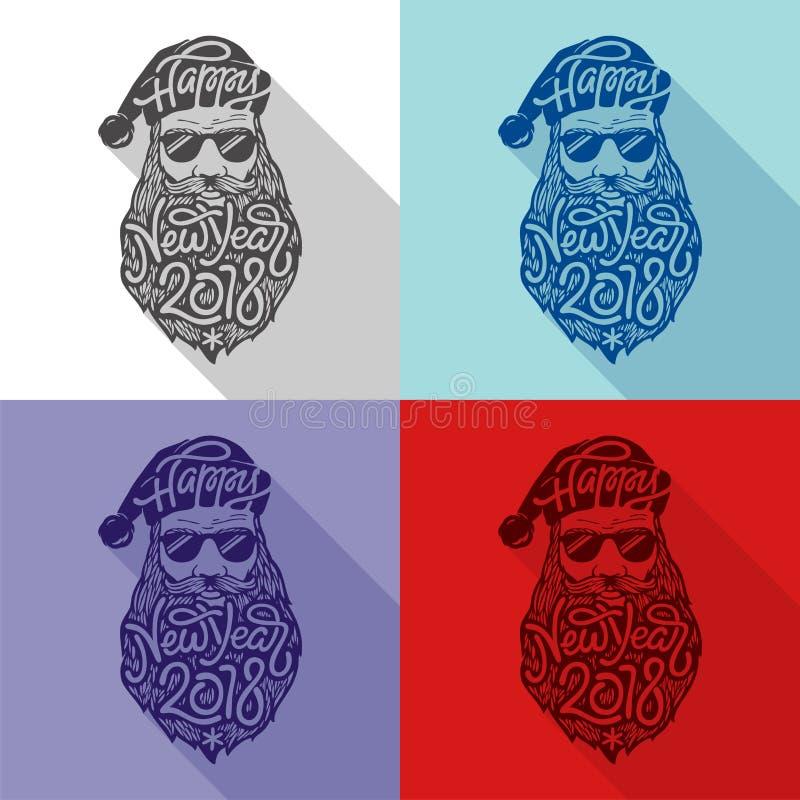 戴眼镜的圣诞老人在与大胡子和题字新年快乐的行家样式2018年 向量例证 皇族释放例证