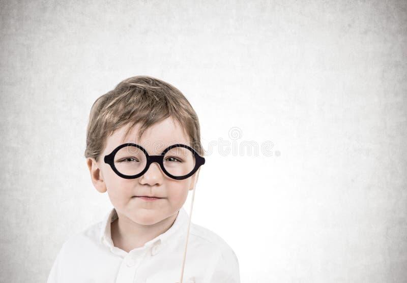 戴眼镜的逗人喜爱的小男孩,具体 库存图片
