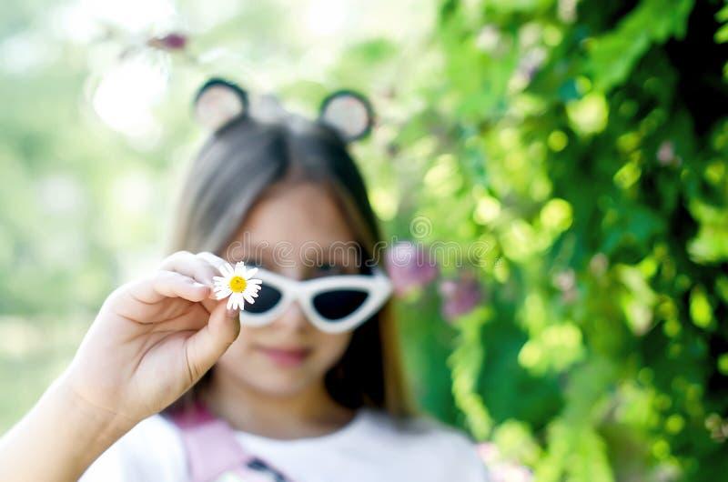 戴眼镜的青少年的女孩在一个夏日 库存图片