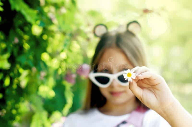 戴眼镜的青少年的女孩在一个夏日 免版税库存图片