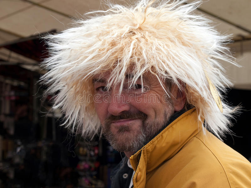 戴着一顶白肤金发的假发的一个人 库存图片