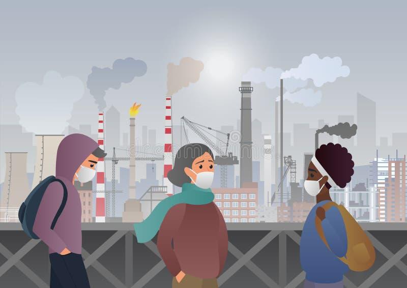 戴着在工厂管子的哀伤和不快乐的人民防护面膜有在背景的烟的 工业烟雾,好 库存例证