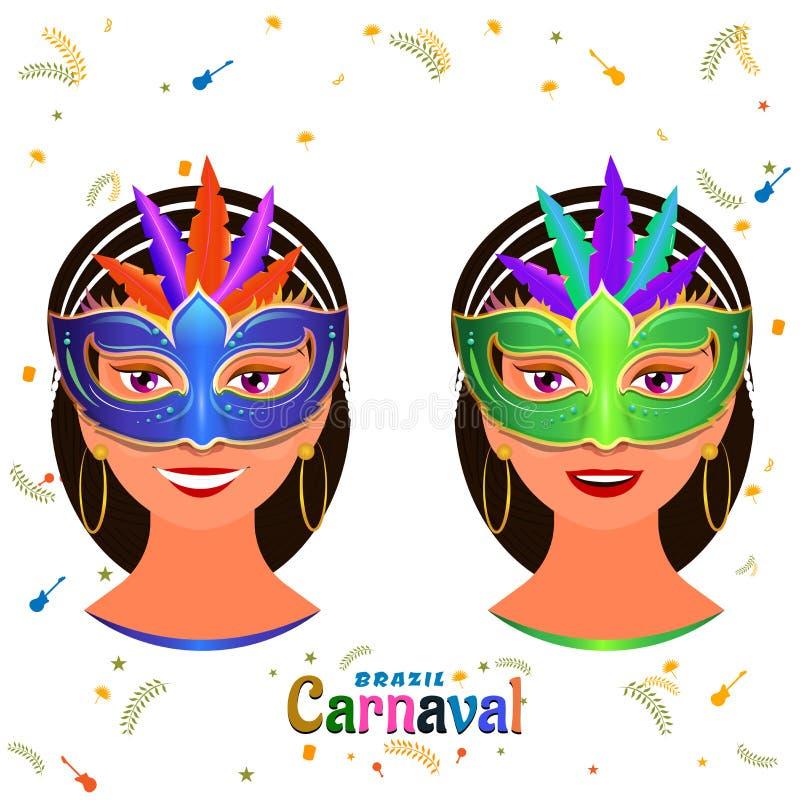 戴着巴西狂欢节的美女字符党面具 皇族释放例证