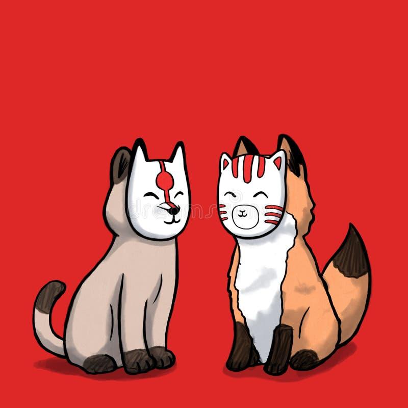 戴着日本面具的猫和狐狸 库存例证