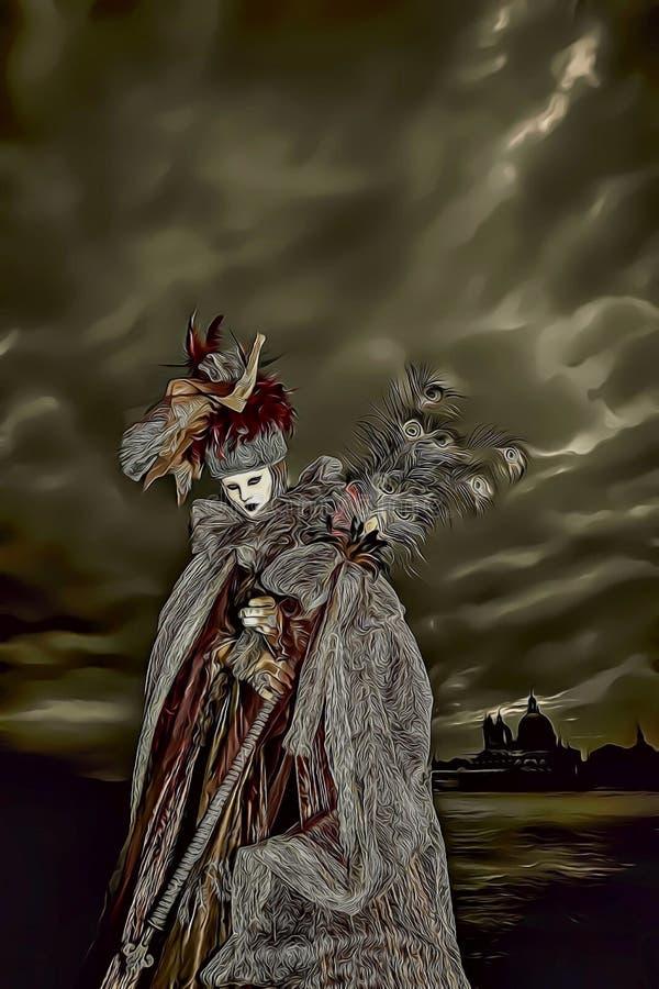 戴着长的礼服和白色面具的神奇妇女的动画片例证在威尼斯狂欢节期间在意大利 皇族释放例证