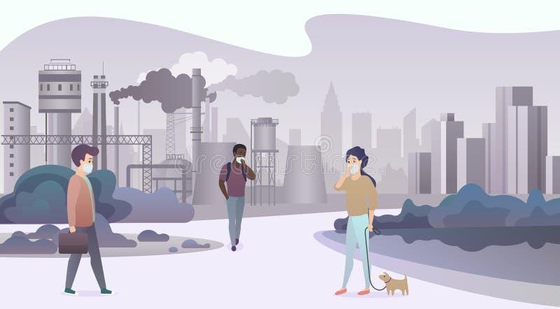 戴着防护面膜和走在有烟的压抑工厂管子城市附近的不快乐的哀伤的人民在背景 皇族释放例证