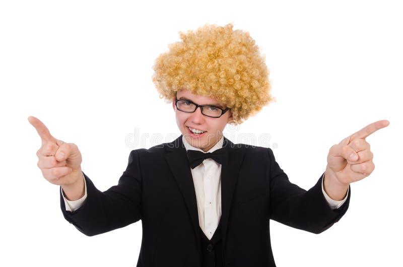 戴着非洲的假发的年轻人 免版税图库摄影