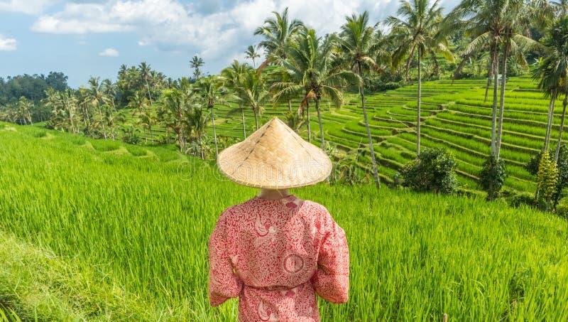 戴红色亚洲样式和服和传统亚洲稻帽子的轻松的时兴的白种人妇女看美丽 库存图片
