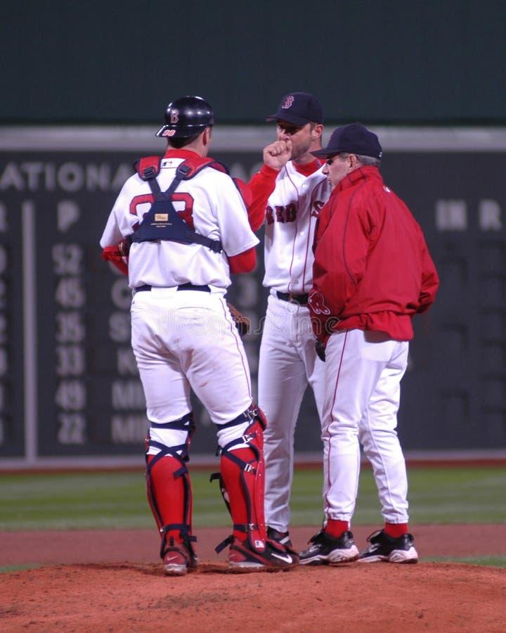 戴维华莱士,波士顿红袜投球教练 免版税库存图片
