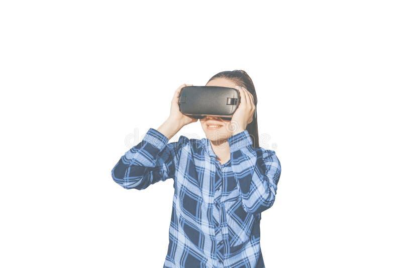 戴虚拟现实眼镜的妇女  免版税库存照片
