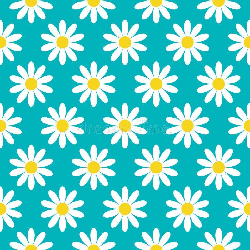 戴西春黄菊象 逗人喜爱的花植物收藏 概念生长 无缝的样式包装纸,纺织品 向量例证