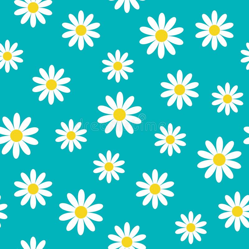戴西春黄菊象 逗人喜爱的花植物收藏 概念生长 无缝的样式包装纸,纺织品 库存例证