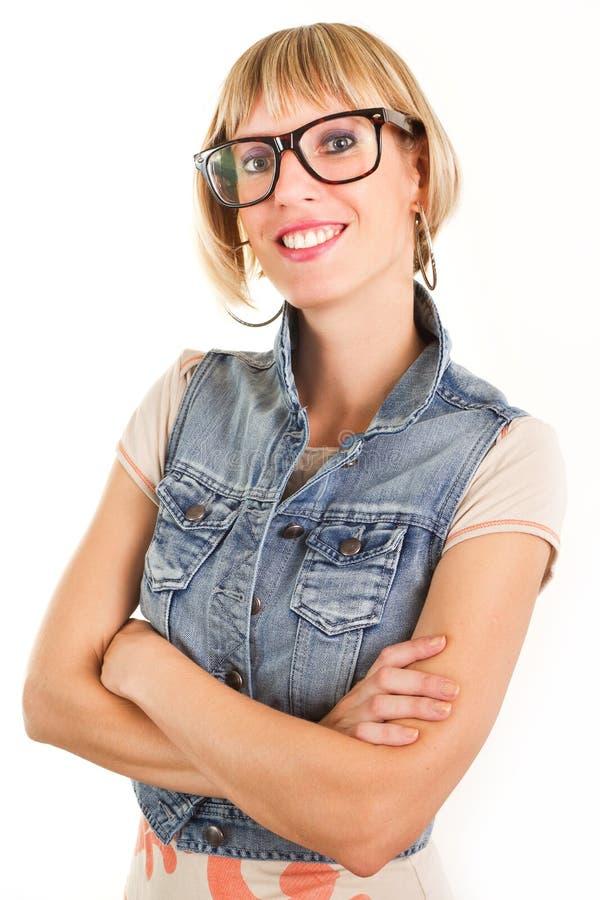 戴讨厌的眼镜的少妇 库存照片