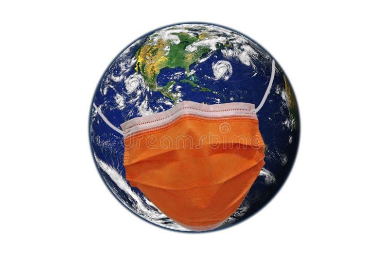 戴面具保护的地球 免版税库存图片