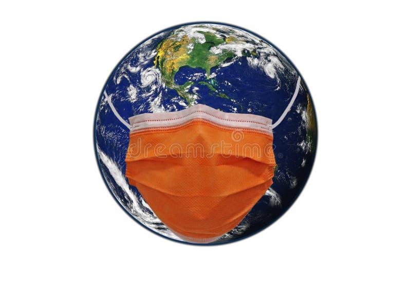 戴面具保护的地球 免版税库存照片