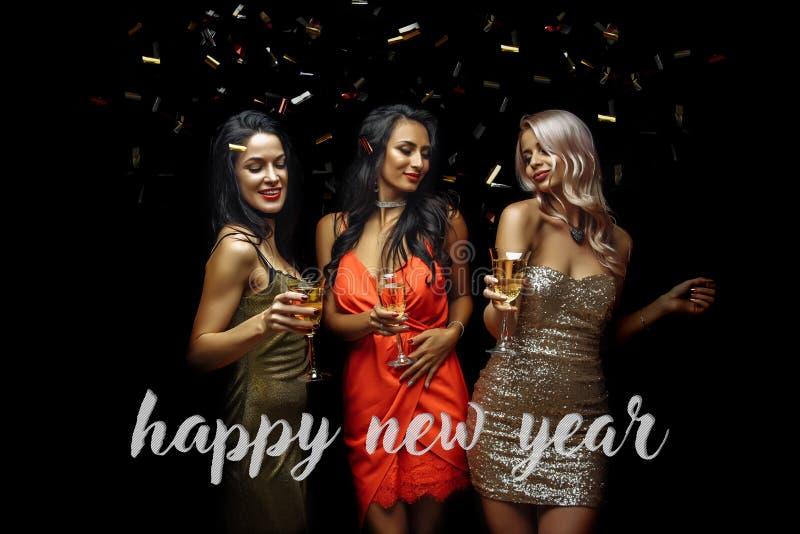 戴香槟眼镜的愉快的少妇  新年好 库存照片