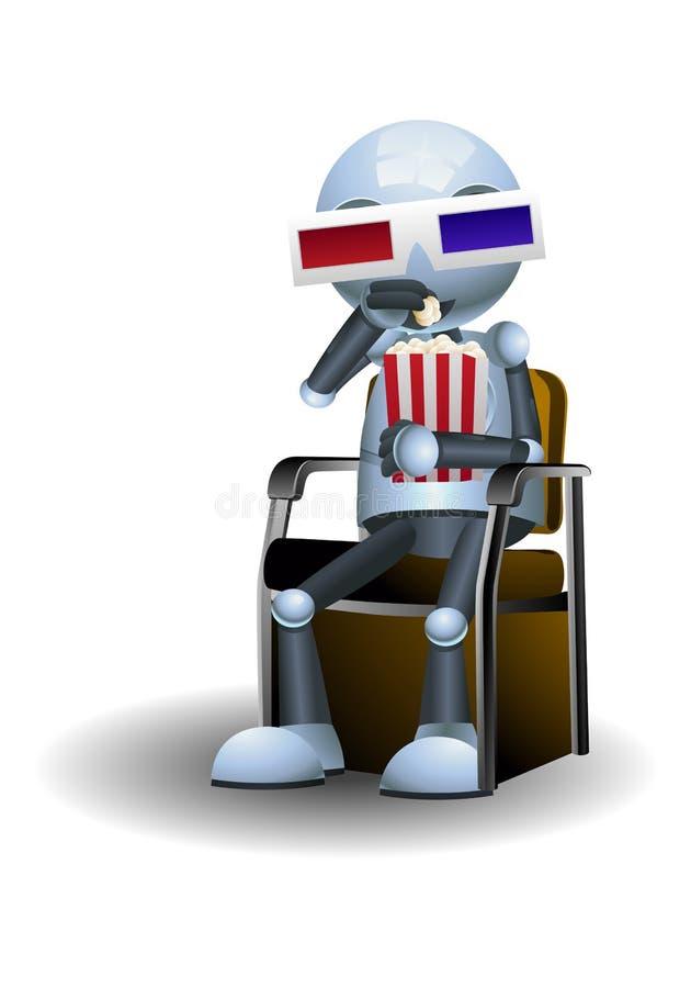 戴3d电影眼镜的一点机器人手表电影 皇族释放例证