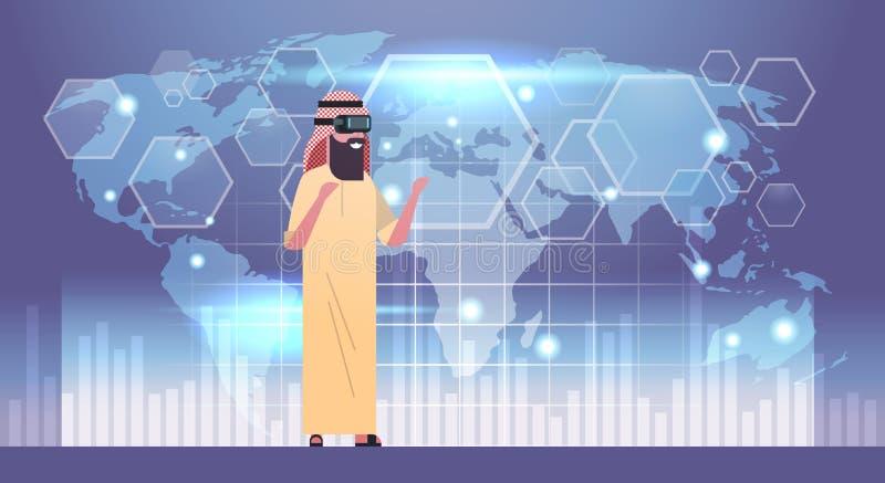 戴3d眼镜的阿拉伯商人使用与世界地图背景虚拟现实的未来派用户界面 向量例证