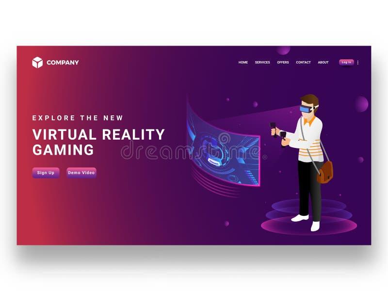戴VR眼镜的男孩打与控制杆, respons的电子游戏 皇族释放例证