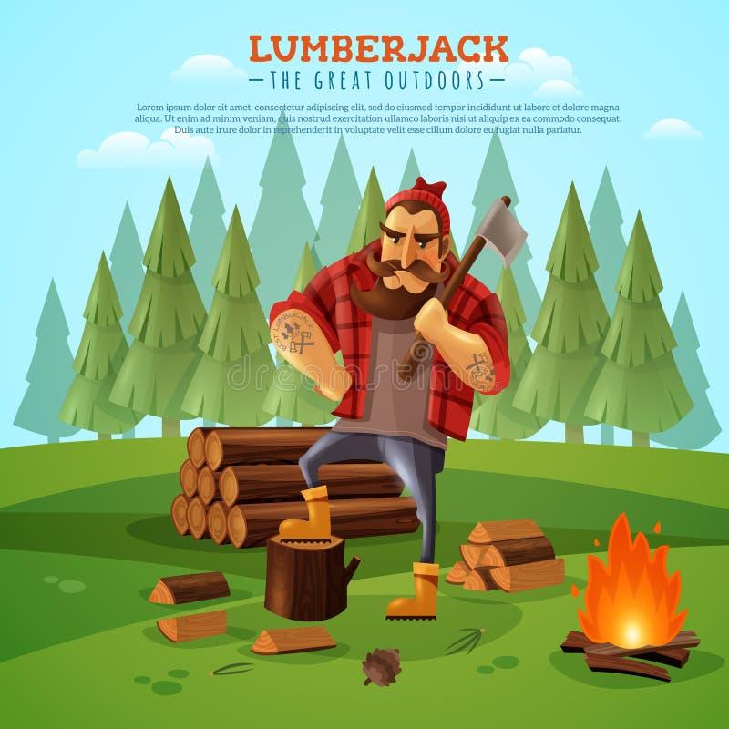 户外伐木工人住在森林并熟悉森林的人动画片海报 皇族释放例证